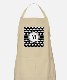Personalized Monogram, Black and White Whale Apron