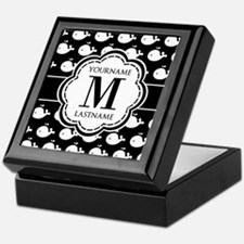 Personalized Monogram, Black and Whit Keepsake Box