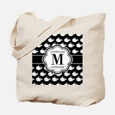 Personalized Monogram, Black and White Wh Tote Bag