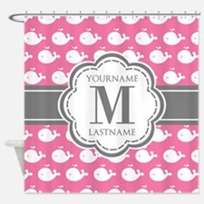 Pink Whimsical Whale Personalized Shower Curtain
