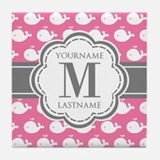 Pink Whimsical Whale Personalized Tile Coaster