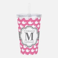 Pink and white whales Acrylic Double-wall Tumbler