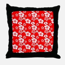 Red Hibiscus Honu Hawaiian Pattern Throw Pillow