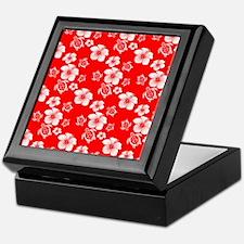 Red Hibiscus Honu Hawaiian Pattern Keepsake Box