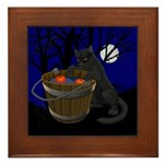 Halloween Framed Black Cat Tile Halloween Gifts