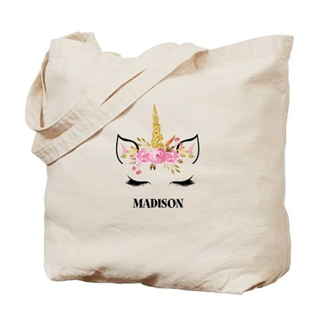 CafePress Unicorn Face Eyelashes Personalized Gift Tote
