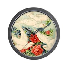 Victorian Dove #2 Postcard Art Wall Clock