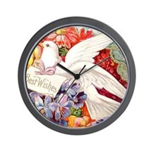 Victorian Dove #4 Postcard Art Wall Clock
