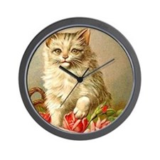 Kitty Cat Postcard Art Wall Clock
