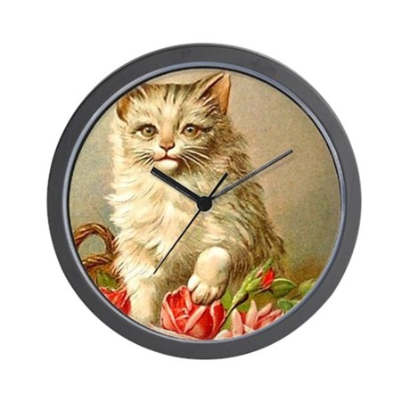 Kitty cat postcard art wall clock by vintageartgirl - Kitty cat clock ...