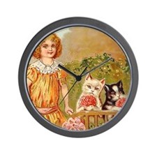 Girl with Kittens Postcard Art Wall Clock