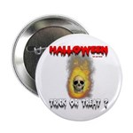 Halloween Skull Fire Trick or Button
