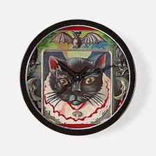 Halloween Black Cat #1 Postcard Art Wall Clock
