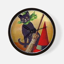 Halloween Black Cat #2 Postcard Art Wall Clock