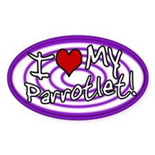 Hypno I Love My Parrotlet Oval Sticker Purple