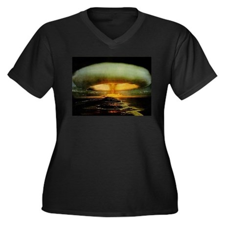 Mushroom Cloud Women's Plus Size V-Neck Dark T-Shi