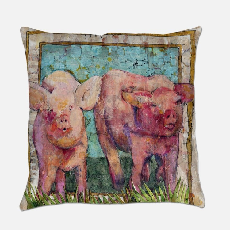 pig art | mixed media | Pen Pals Everyday Pillow