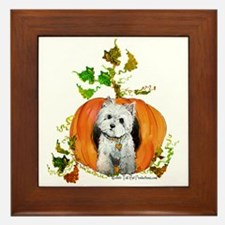 Autumn Pumpkin Westie Framed Tile