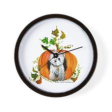 Autumn Pumpkin Westie Wall Clock