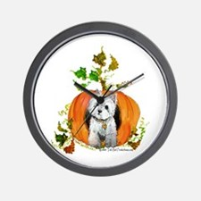 Autumn Pumpkin Westie Wall Clock