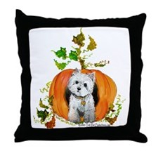 Autumn Pumpkin Westie Throw Pillow