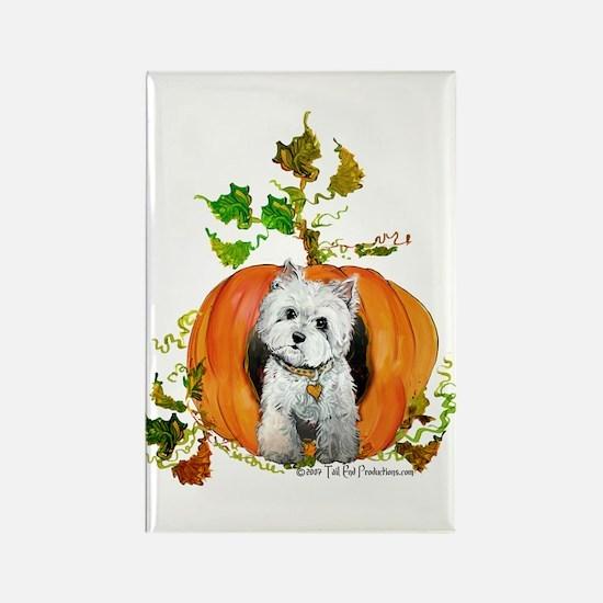 Autumn Pumpkin Westie Rectangle Magnet