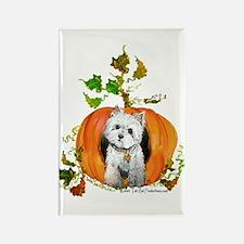 Autumn Pumpkin Westie Rectangle Magnet (10 pack)