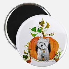 Autumn Pumpkin Westie Magnet