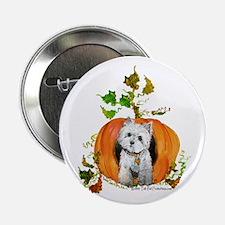 Autumn Pumpkin Westie Button