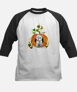Autumn Pumpkin Westie Kids Baseball Jersey