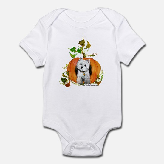 Autumn Pumpkin Westie Infant Bodysuit