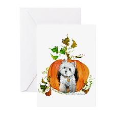 Autumn Pumpkin Westie Greeting Cards (Pk of 20)