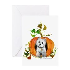 Autumn Pumpkin Westie Greeting Card