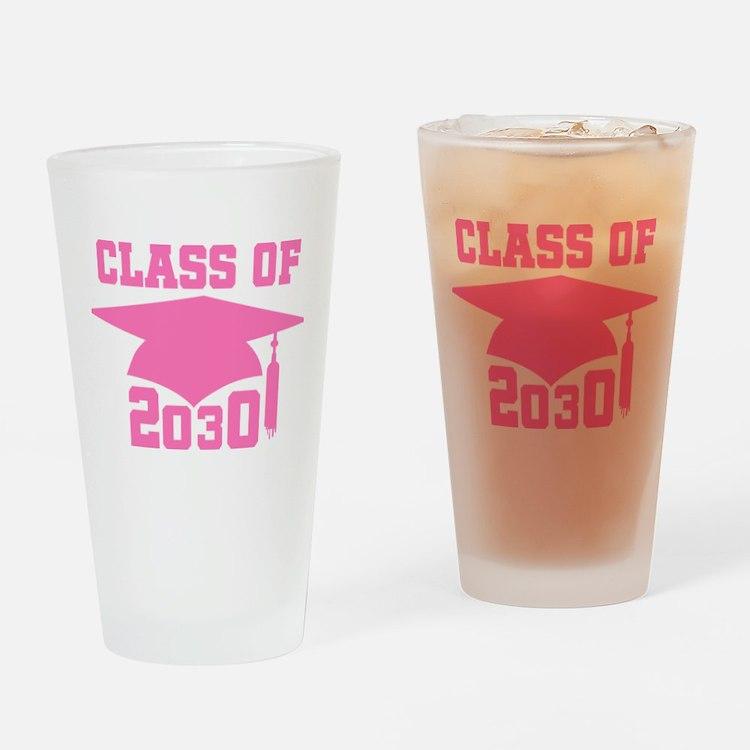 Class Of 2030 Pink Graduation Drinking Glass