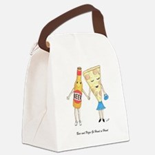 Beer and Pizza Canvas Lunch Bag