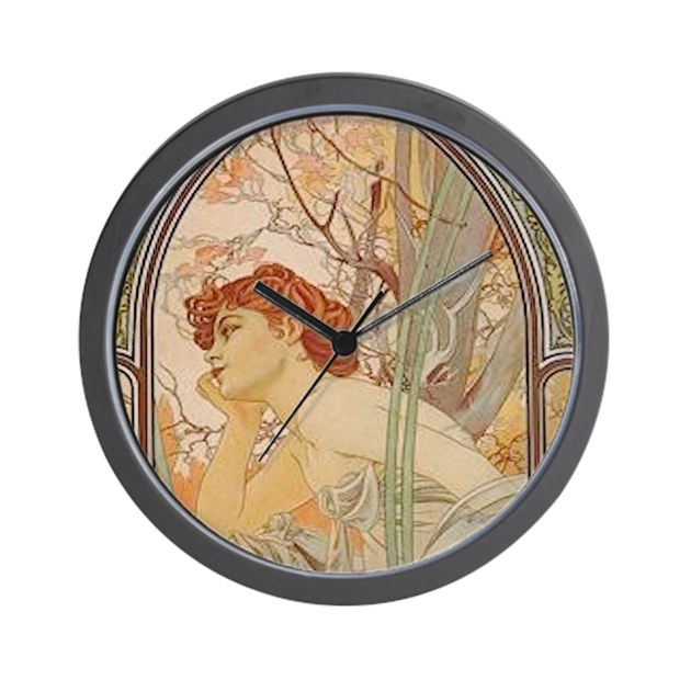 Wall Clock Art Nouveau : Mucha art nouveau in the garden wall clock by admin