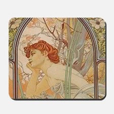 Mucha - Art Nouveau In The Garden Mousepad