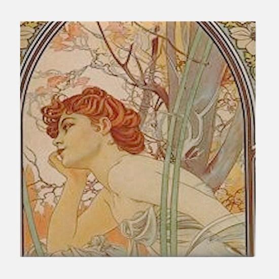 Mucha - Art Nouveau In The Garden Tile Coaster