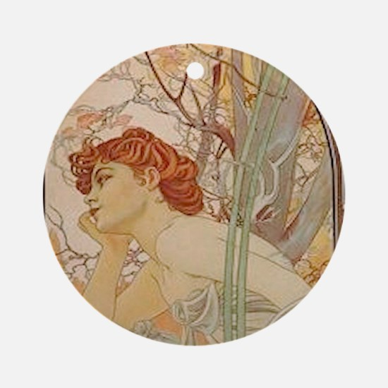 Mucha - Art Nouveau In The Garden Round Ornament