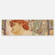 Mucha - Art Nouveau In The Garden Bumper Bumper Bumper Sticker