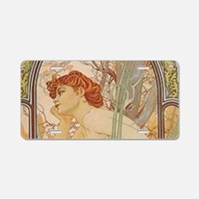 Mucha - Art Nouveau In The Aluminum License Plate