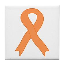 Peach Ribbon Tile Coaster