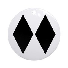 Double Diamond Ski Ornament (Round)