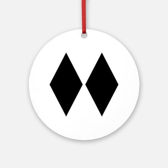 Double Diamond Ski Ornament (Round)
