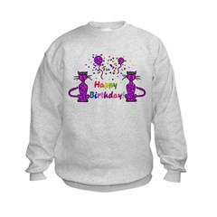 Purple Birthday Cats Sweatshirt