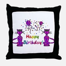 Purple Birthday Cats Throw Pillow
