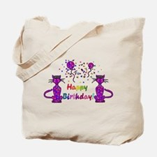 Purple Birthday Cats Tote Bag