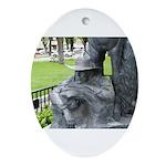 Prescott Cowboy Statue Pendant/Oval Ornament