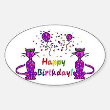 Purple Birthday Cats Oval Decal