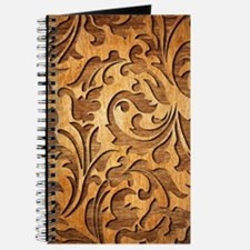 Brown Carved Wood Oriental Floral Design Journal